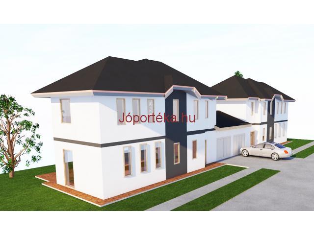 Garázzsal kapcsolatos új építésű ikerházak leköthetők a Bp. XVIII. Ganz kertvárosban