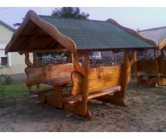 Rusztikus kerti bútor, pavilon, nádtetős kiülő